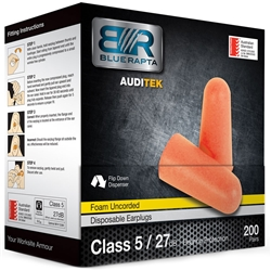 Blue Rapta Auditek 27dB CL5 Uncorded Earplugs (Bx 200pr)