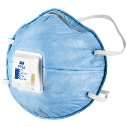 3M™ 9916 P1 Valved Cupped Particulate Respirator w/ Nuisance Level* Acid Gas Relief (Bx 10)