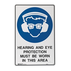 Hearing And Eye Protection Metal Sign 450x300mm