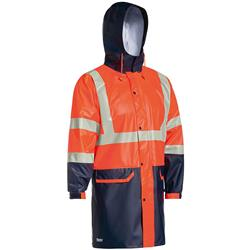 Bisley Safetywear Two Toned Hi-Vis H Taped Stretch PU Rain Jacket